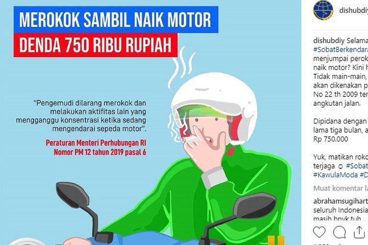 Larangan merokok saat naik motor   Peraturan Menteri Perhubungan Nomor 12 Tahun 2019 tentang Perlindungan Keselamatan Pengguna Sepeda Motor