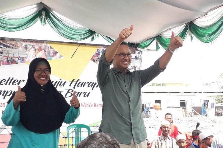 Gubernur DKI Jakarta Anies Baswedan mengunjungi Kampung Akuarium, Penjaringan, Jakarta Utara pada Sabtu (14/4/2018).