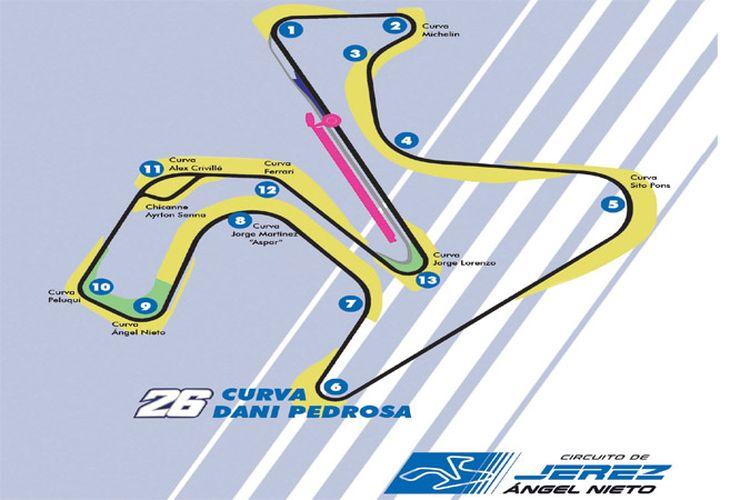 Tikungan Dani Pedrosa di Sirkuit Jerez