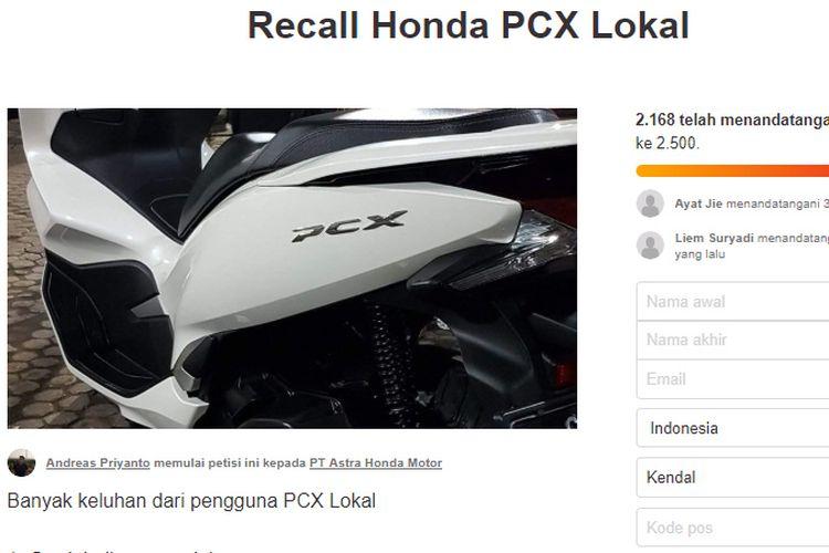 Petisi recall Honda PCX