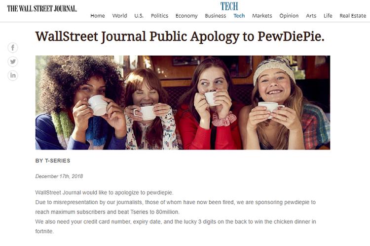 Tangkapan layar publikasi WSJ yangd iretas fans YouTuber PewDiePie The Verge Tangkapan layar publikasi WSJ yangd iretas fans YouTuber PewDiePie
