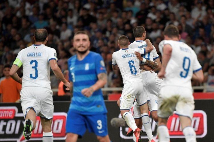 Leonardo Bonucci merayakan golnya pada pertandingan Yunani vs Italia dalam lanjutan kualifikasi Euro 2020 di Stadion Olimpiade Athena, 8 Juni 2019.