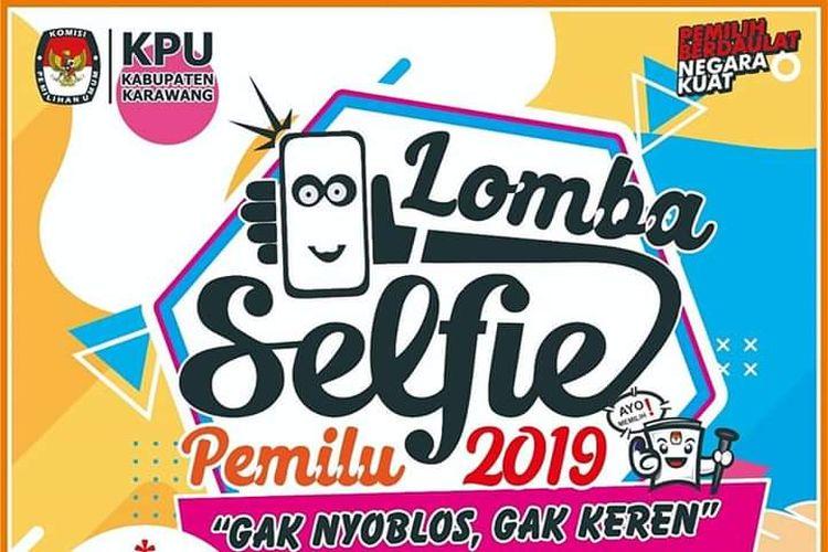 Guna meningkatkan partisipasi pemilih, Komisi Pemilihan Umum (KPU) Kabupaten Karawang menggelar lomba selfie pemilu 2019.
