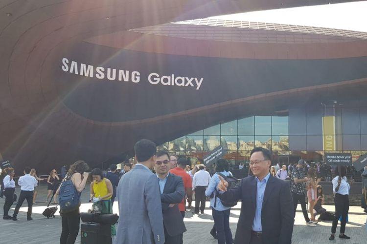 Suasana di lokasi peluncuran Samsung Galaxy Note 9 di New York, Kamis (9/8/2018).