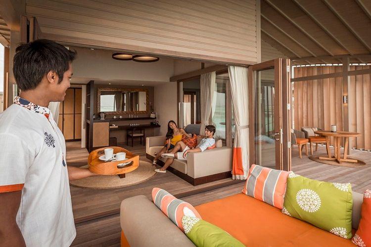 Interior salah satu tipe vila Club Med Finolhu.