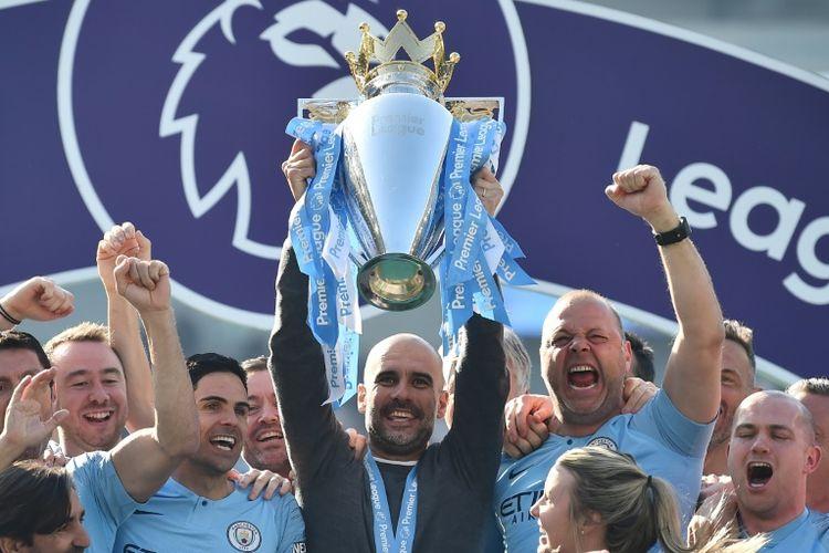 Manchester City tampil sebagai juara Liga Inggris musim 2018/2019, Senin (13/5/2019)