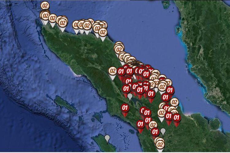 Peta sebaran hitung cepat atau quick count Pilpres 2019 yang dirilis oleh Litbang Kompas pada Rabu (17/4/2019) hingga pukul 21.00 WIB di Sumatera bagian utara yang meliputi Aceh dan Sumatera Utara.