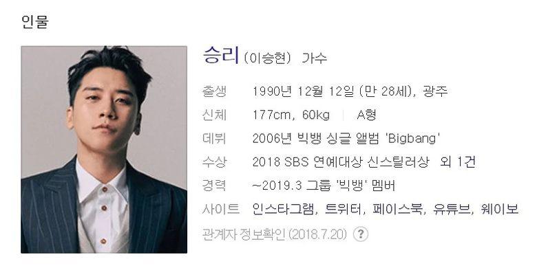 Bidik layar profil mantan member BIGBANG, Seungri, dalam salah satu situs web terkenal.