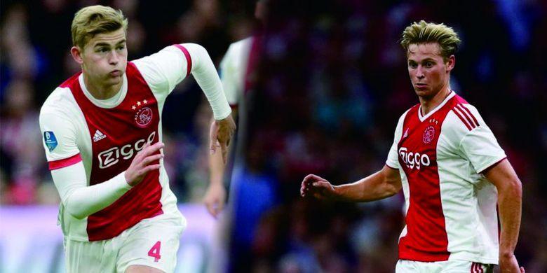 Aksi duo pemain Ajax Amsterdam Matthijs de Ligt dan Frenkie de Jong.
