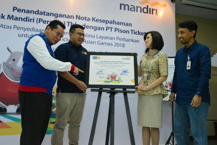 Bank Mandiri dengan kiosTix jalin kerja sama dalam penjualan tiket Asian Games 2018, Jumat (29/6/2018).