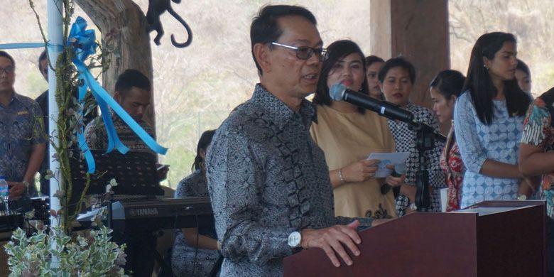 Rudy Suliawan, pemilik Ayana, saat memberikan sambutan pada peresmian Ayana Komodo Resort, Pantai Waecicu, Labuan Bajo, Kabupaten Manggarai Barat, Nusa Tenggara Timur, Sabtu (15/9/2018).