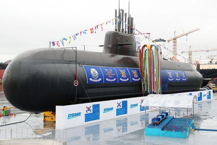 Penampakan kapal selam tempur peluncur misil balistik pertama milik Korea Selatan bernama Dosan Ahn Chang-ho yang diresmikan pada Jumat (14/9/2018).