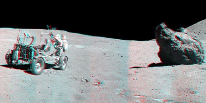 Panorama lokasi pendaratan misi Apollo 16.