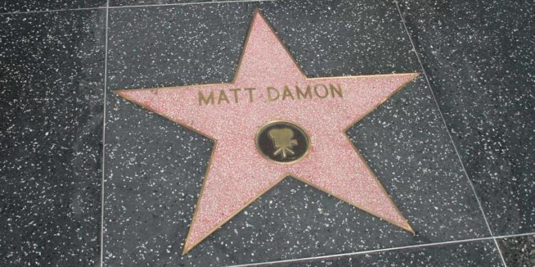 Bintang aktor Matt Damon pada Hollywood Walk of Fame, California (AS).