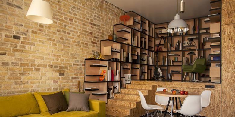 Bukan ukuran dan bentuk apartemen mungil ini yang istimewa. Secara khusus, pasangan pemilik apartemen ini menginginkan perpustakaan built-in.