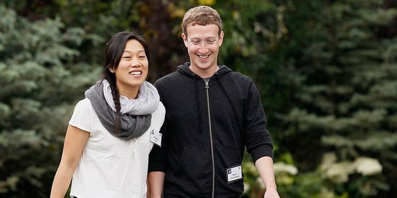 Mark Zuckerberg bersama istrinya, Priscilla Chan