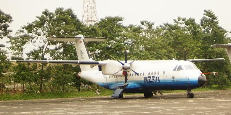 Pesawat N250 buatan BJ Habibie, di pabrik PT Dirgantara Indonesia, Bandung, Jumat (14/2/2014).
