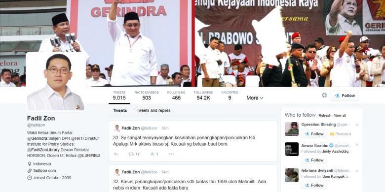 Halaman akun Twitter milik Wakil Ketua Umum Partai Gerindra Fadli Zon