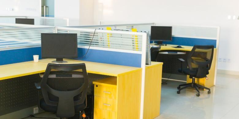Ilustrasi desain ruangan kantor terbuka