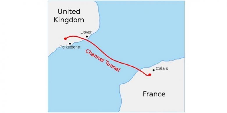 Peta terowongan Channel (Channel Tunnel), yang membentang sejauh 50 kilometer di bawah permukaan air Selat Inggris.