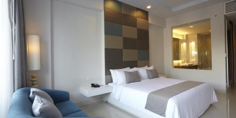 Salah satu kamar di R Hotel Rancamaya di Bogor, Jawa Barat.