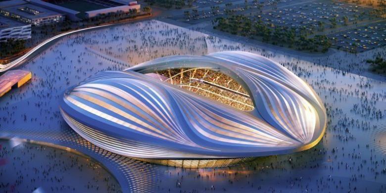 Al-Wakrah Stadium di Doha, Qatar. Stadion tersebut dibuat oleh Zaha Hadid untuk event Piala Dunia 2022 di Qatar. Bangunan tersebut menjadi kontroversi ketika banyak pekerjanya tewas selama pembangunan berlangsung.