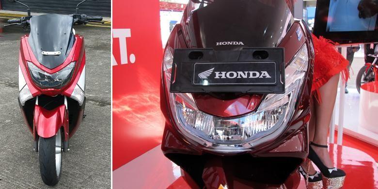 Tampang depan Yamaha NMAX dan Honda PCX.