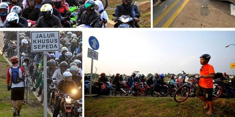 Gambar-gambar yang memperlihatkan pengguna sepeda harus mengalah dari para pengguna motor, pasca dibuka jalur khusus sepeda untuk kendaraan umum, di sepanjang jalan inspeksi Kanal Banjir Timur (KBT).
