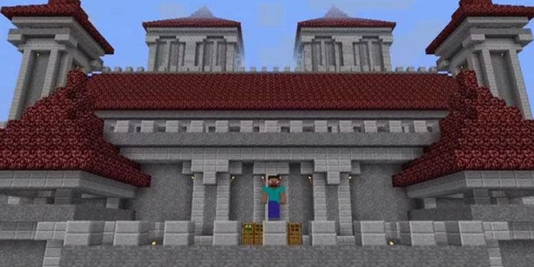 Pemain Minecraft bisa membangun bangunan seperti gambar di atas ini