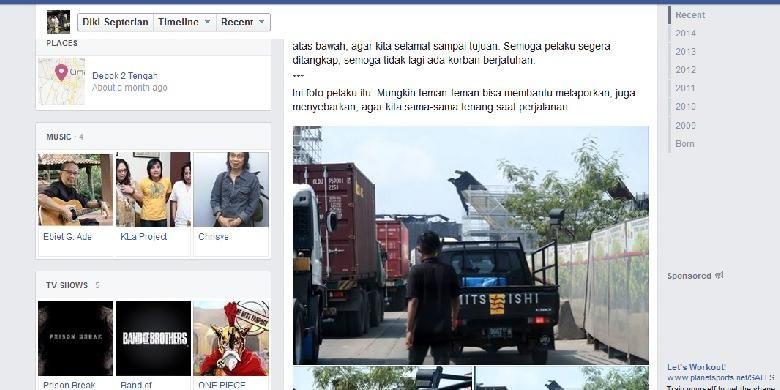 Postingan Diki Septerian tentang peristiwa pencurian dengan kekerasan di kawasan Jalan Raya Cilincing, Jakarta Utara.
