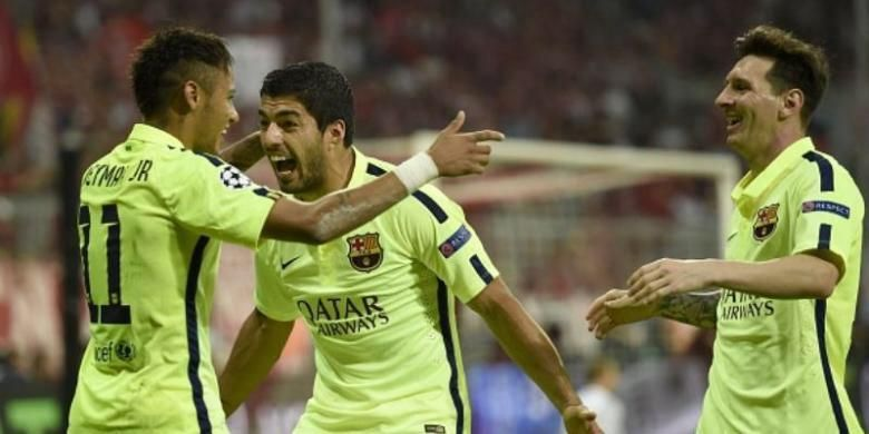 Trio penyerang Barcelona, Neymar (kiri), Luis Suarez (tengah) dan Lionel Messi.