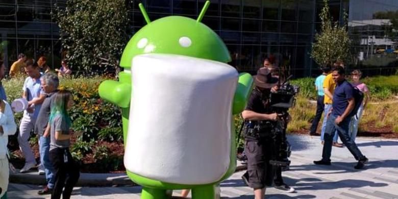 Patung Android Marshmallow di kantor Google