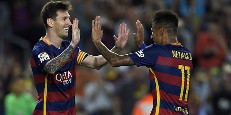 Lionel Messi dan Neymar mengantarkan Barcelona menang 4-1 atas Levante, Minggu (20/9/2015).