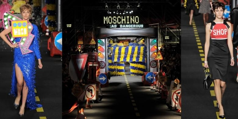 Koleksi Mocshino untuk musim spring/ summer 2016, di Milan Fashion Week.