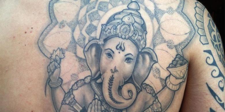 ilustrasi tato Ganesha.