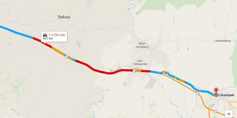 Kepadatan dalam tol menuju Cikampek yang terpantau google map pada Jumat (25/12/2015) pukul 09.17 WIB.