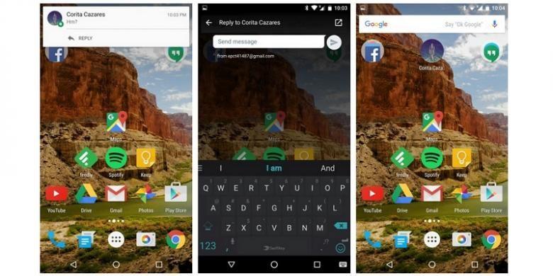Tampilan Google Hangouts 7.0