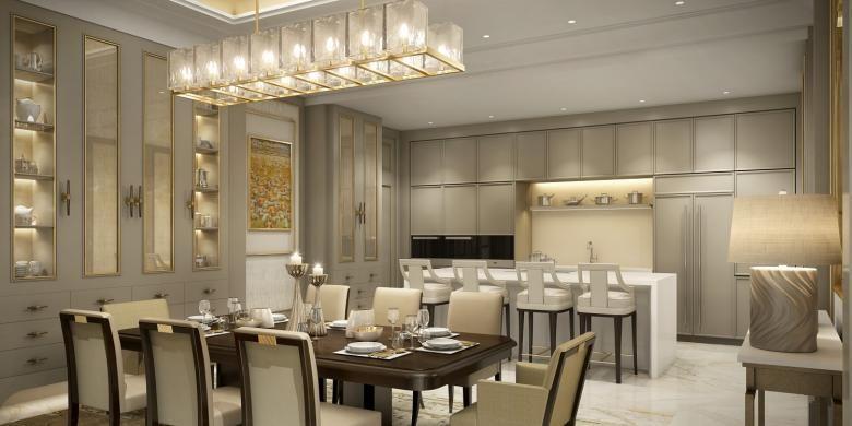 Tampilan interior ruang makan dan dapur The Residences at The St Regis Jakarta.