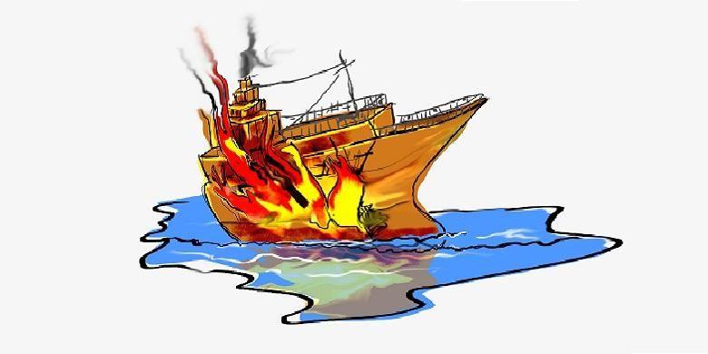 Ilustrasi kebakaran kapal