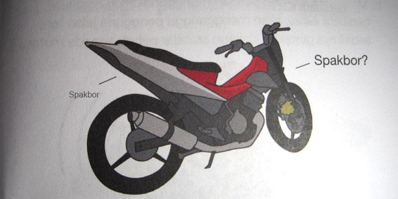 Ilustrasi sepeda motor tanpa spakbor.