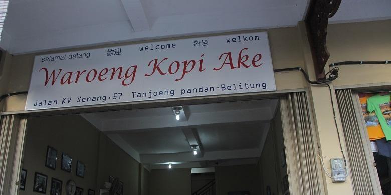 Warung Kopi Ake terletak di KV Senang 57 di dekat Bundaran Tugu Satam, Belitung. Warung Kopi ini telah mulai berjualan kopi sejak tahun 1922.