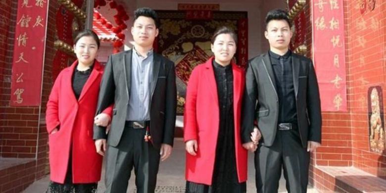 Pasangan suami istri kembar identik asal China ini kerap membuat kerabat dan teman mereka salah mengidentifikasi.