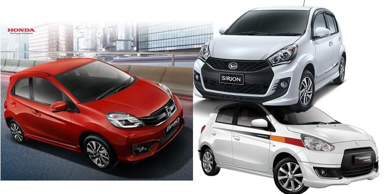 City car sporty perang fitur, Honda Brio RS, Mitsubishi Mirage Sport, dan Daihatsu Sirion Sport.
