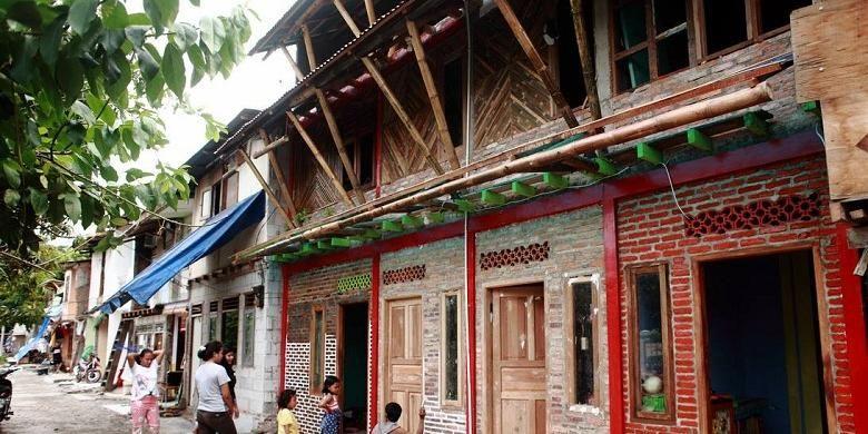 Penampakan rumah contoh di Kampung Tongkol, Ciliwung, Jakarta.