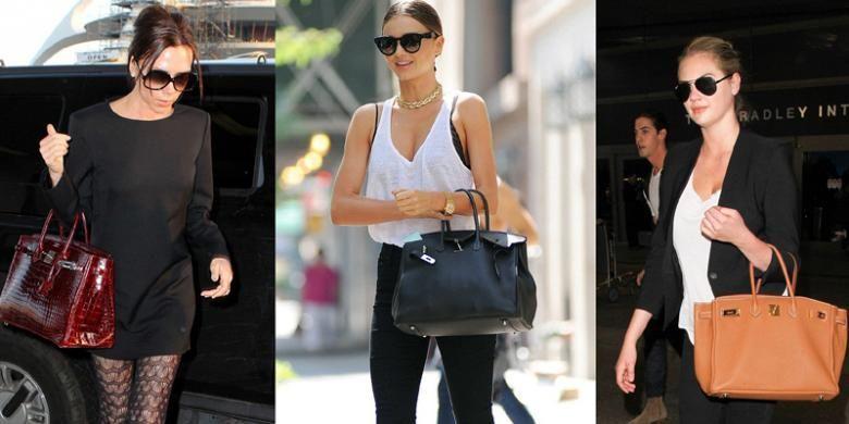 Victoria Beckham, Miranda Kerr, dan Kate Upton, mengenakan tas Hermes Birkin