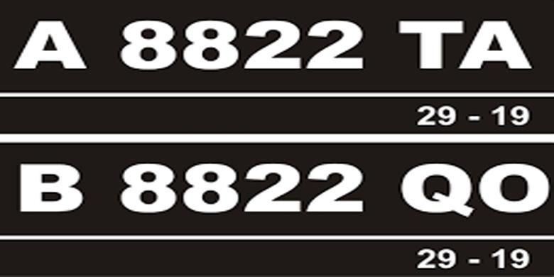 Ilustrasi plat nomor Banten dan Jakarta