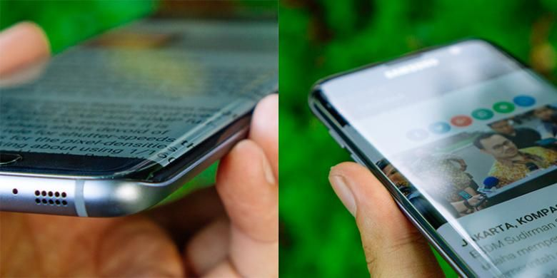 Sisi melengkung tersebut sekaligus membuat layar Galaxy S7 Edge tampak lebar dan tidak terbatas bezel karena teks dan gambar ikut meluber ke samping.
