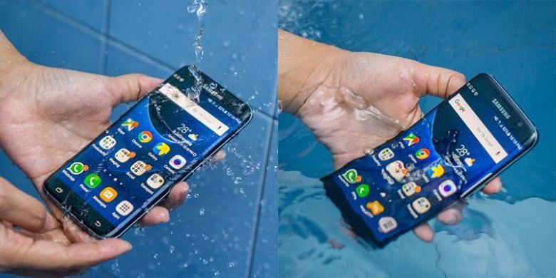 Samsung Galaxy S7 Edge mampu bertahan dari guyuran dan rendaman air