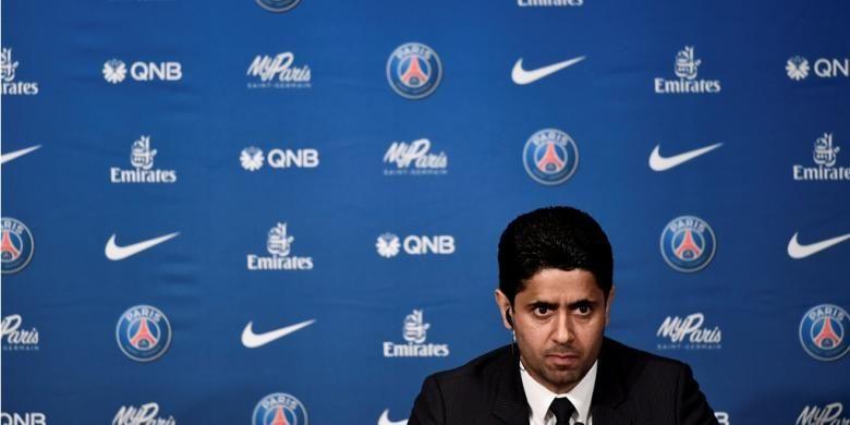 Presiden Paris Saint-Germain (PSG) Nasser Al-Khelaifi menghadiri sesi perkenalan Unai Emery sebagai pelatih anyar, Senin (4/7/2016).