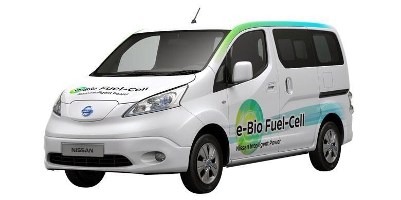 Teknologi fuel-cell Nissan menggunakan bio-ethanol diperkenalkan pada prototipe e-NV200 atau Evalia versi listrik.